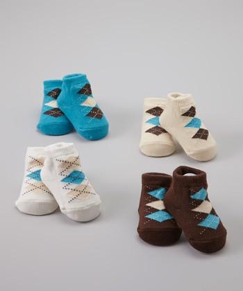 Baby Essentials Blue & White Argyle Sock Set
