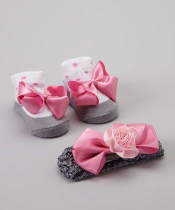 Baby Essentials Pink Rose Sock & Headband Set