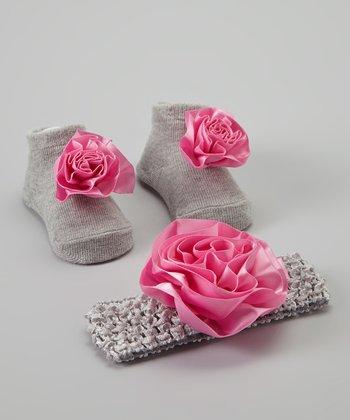 Baby Essentials Grey & Pink Sock & Headband Set