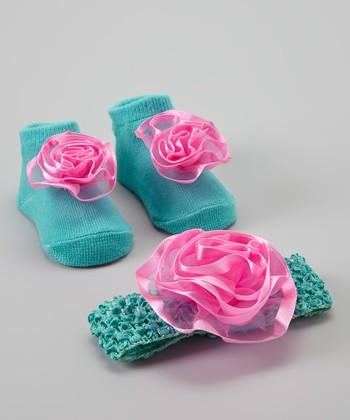 Baby Essentials Turqouise & Hot Pink Sock & Headband Set