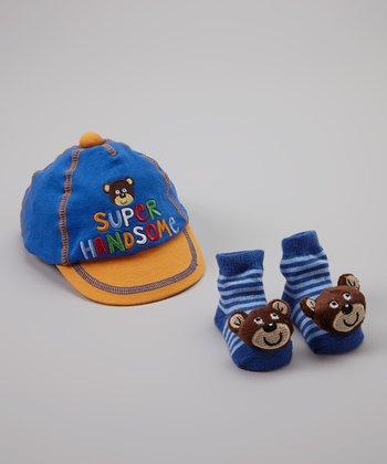 Baby Essentials Monkey 'Super Handsome' Cap & Sock Set