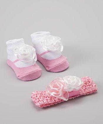 Baby Essentials Light Pink & White Sock & Headband Set