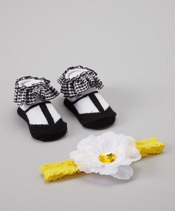 Baby Essentials Black & White Gingham Sock & Headband Set