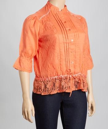 Orange Lace Pleated Linen Top - Plus