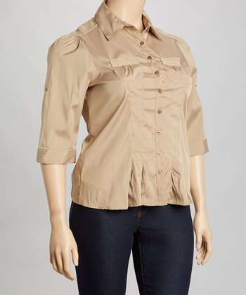 Tan Pleated Button-Up - Plus