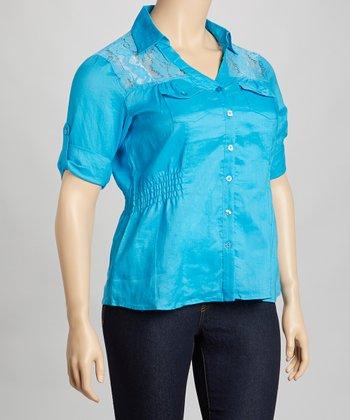 Blue Lace Shirred Linen Button-Up - Plus