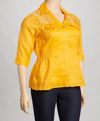 Orange Lace Shirred Linen Button-Up - Plus