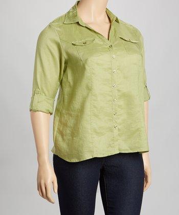 Olive Linen Button-Up - Plus