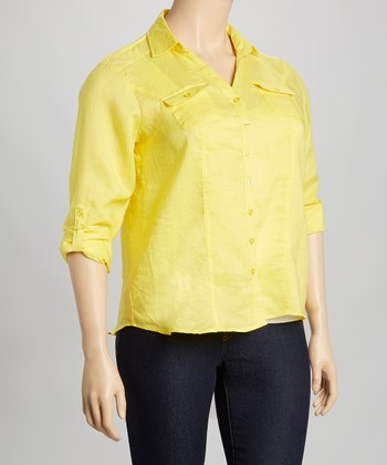 Yellow Linen Button-Up - Plus