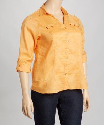 Orange Linen Button-Up - Plus