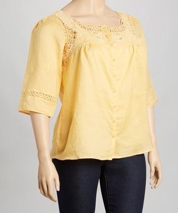 Yellow Crochet Linen Top - Plus