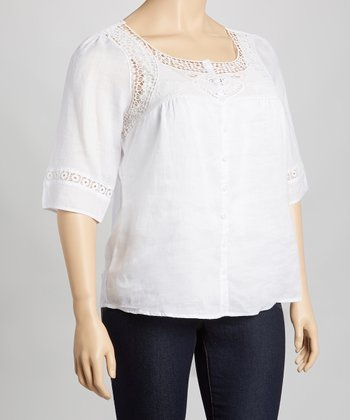 White Crochet Linen Top - Plus