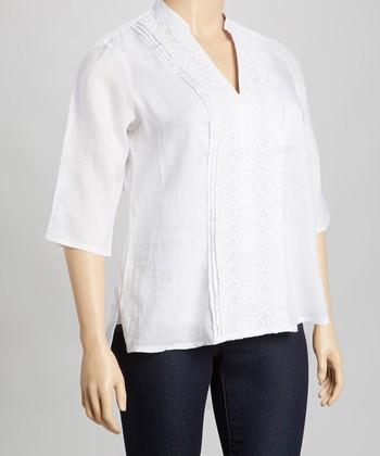 White Linen Top - Plus