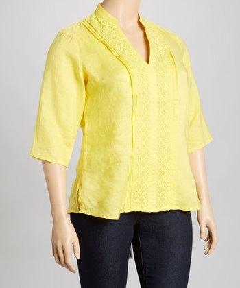 Yellow Linen Top - Plus