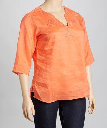 Orange Embroidered Linen Top - Plus