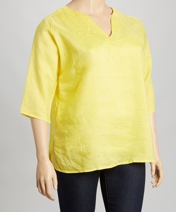 Yellow Embroidered Linen Top - Plus