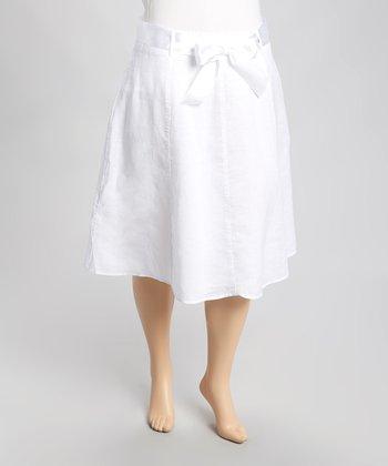 White Ribbon Linen Skirt - Plus