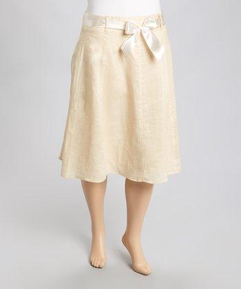 Beige Ribbon Linen Skirt - Plus