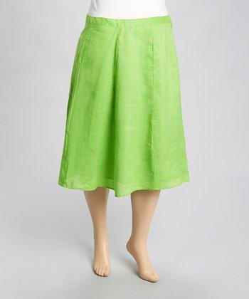 Green Linen Skirt - Plus