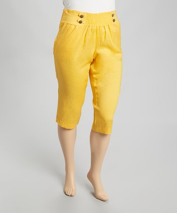Yellow Linen Capri Pants - Plus