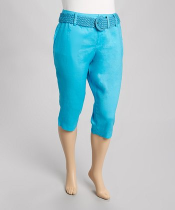 Turquoise Belted Linen Capri Pants - Plus