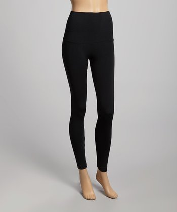 Black Stretch Double Waistband Leggings