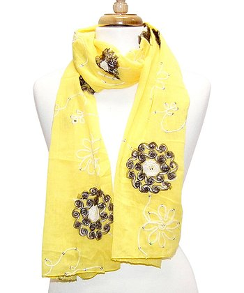 Yellow Embroidered Flower Scarf