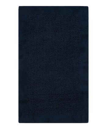 Navy Border Bath Rug