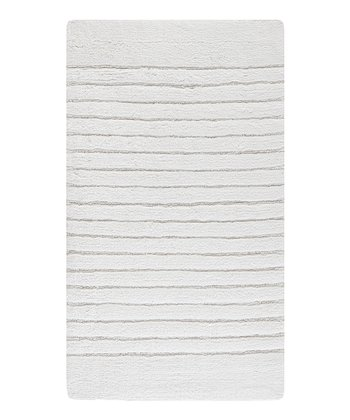 White Stripe Bath Rug
