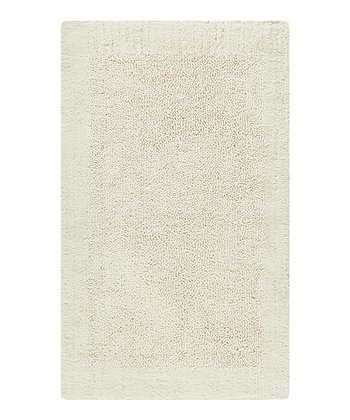 Natural Stripe Border Bath Rug