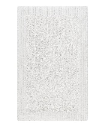 White Stripe Border Bath Rug