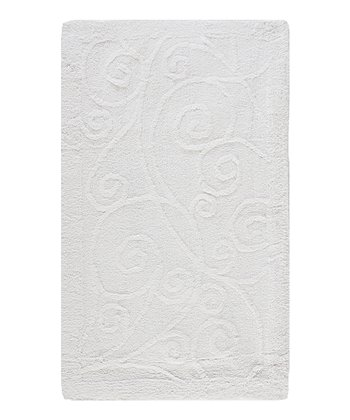 White Scroll Bath Rug