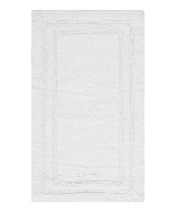 True White Double Border Bath Rug