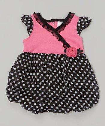 Baby Essentials Pink & Black Polka Dot Bubble Bodysuit