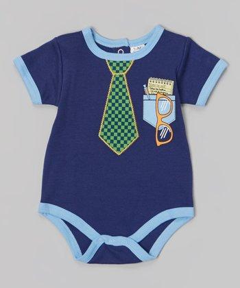 Baby Essentials Blue & Green Tie Bodysuit