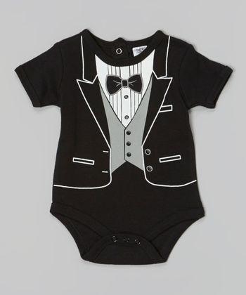 Baby Essentials Black Tuxedo Bodysuit