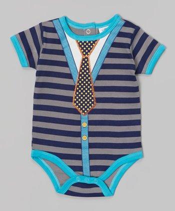 Baby Essentials Gray & Blue Stripe Tie Bodysuit