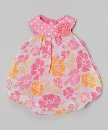 Baby Essentials Pink Hibiscus Rosette Bubble Bodysuit
