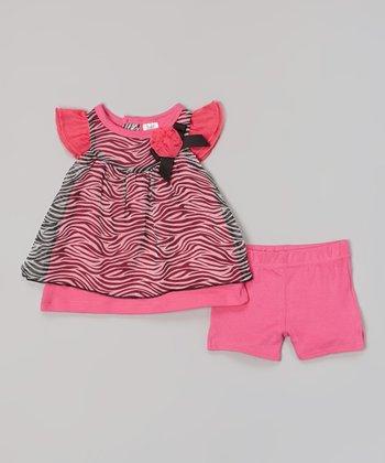 Baby Essentials Pink & Black Angel-Sleeve Top & Shorts