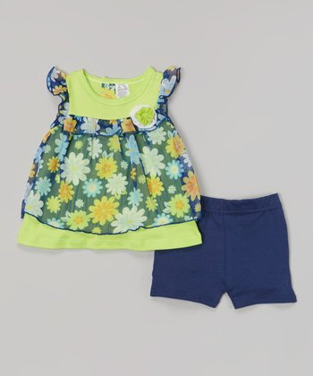 Baby Essentials Green & Navy Floral Top & Shorts