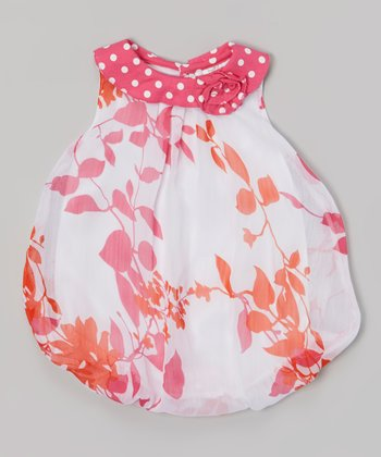 Baby Essentials Pink & White Vine Bubble Bodysuit