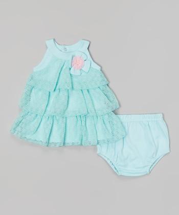 Baby Essentials Blue Tiered A-line Dress & Diaper Cover