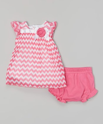Baby Essentials Pink & White Zigzag Cap-Sleeve Dress & Diaper Cover
