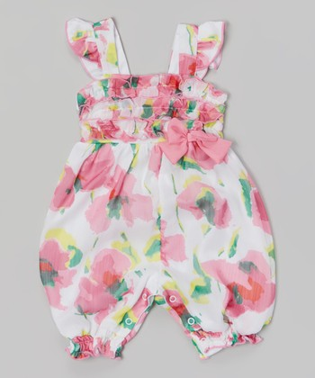 Baby Essentials Pink & White Floral Ruffle Romper
