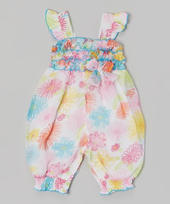 Baby Essentials White Floral Ruffle Romper