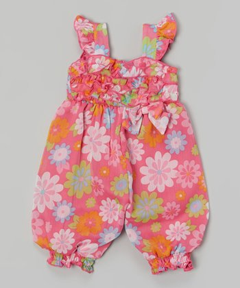 Baby Essentials Pink Floral Ruffle Romper