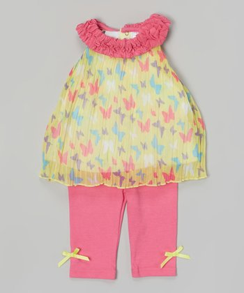 Baby Essentials Lime Butterfly Pleated Top & Leggings