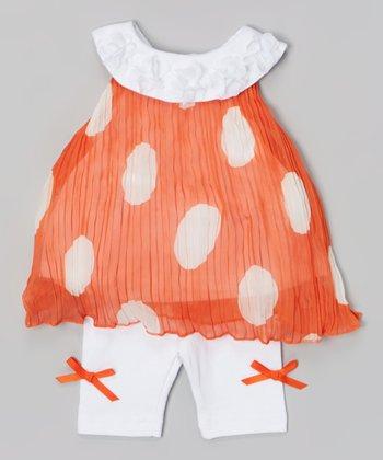 Baby Essentials Orange & White Dot Pleated Top & Leggings