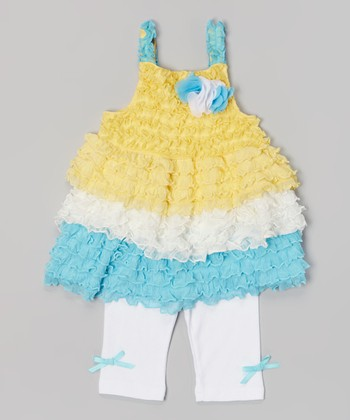 Baby Essentials White & Yellow Color Block Tulle Top & Leggings