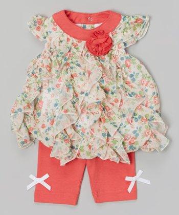 Baby Essentials Coral Floral Ruffle Angel-Sleeve Top & Leggings